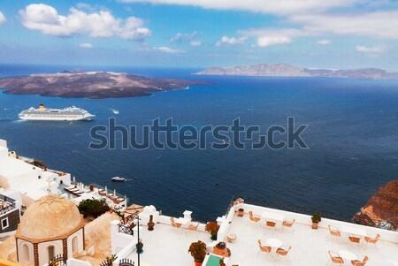 Santorini vulkán hajók Görögország égbolt város Stock fotó © neirfy