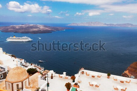 Santorini vulkaan schepen Griekenland hemel stad Stockfoto © neirfy