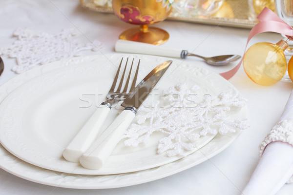 Arts de la table Noël plaques blanche nappe Photo stock © neirfy
