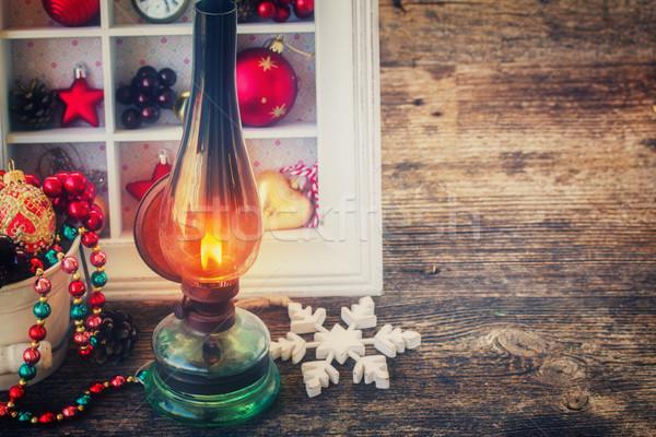 Vintage фонарь Рождества венок сжигание украшения Сток-фото © neirfy