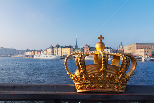 Royal crown and Stockholm cityscape Stock photo © neirfy