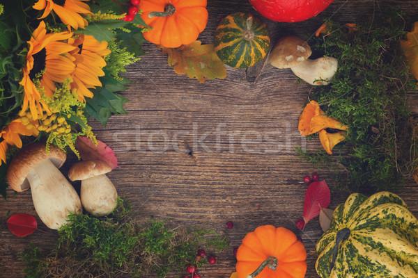 Fall flat lay frame Stock photo © neirfy