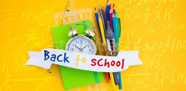 Zurück in die Schule Wecker Schulbedarf Text Band top Stock foto © neirfy