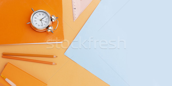 Zurück in die Schule Szene Schulbedarf blau orange Banner Stock foto © neirfy