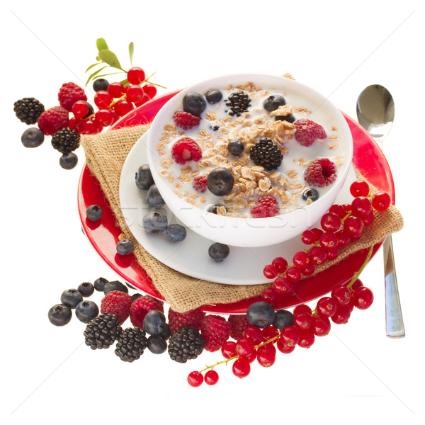 Zab pelyhek bogyók izolált fehér étel Stock fotó © neirfy
