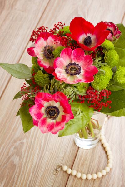 posy  of  red anemone flowers Stock photo © neirfy