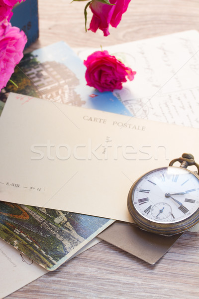 old mail  and antique clock Stock photo © neirfy