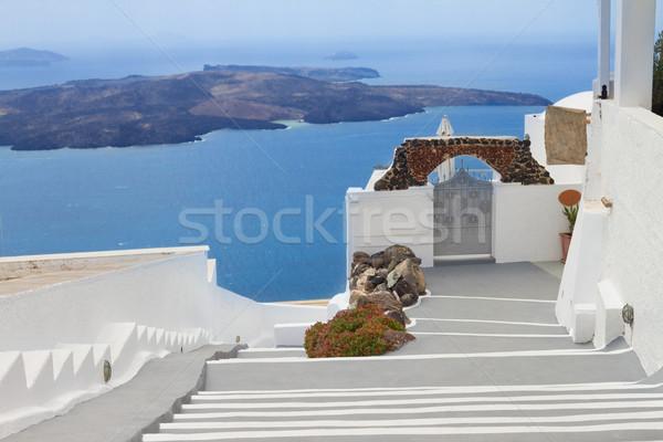 Vulkaan trap santorini eiland Griekenland Stockfoto © neirfy