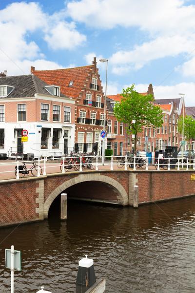 歴史的 センター オランダ 運河 住宅 旧市街 ストックフォト © neirfy