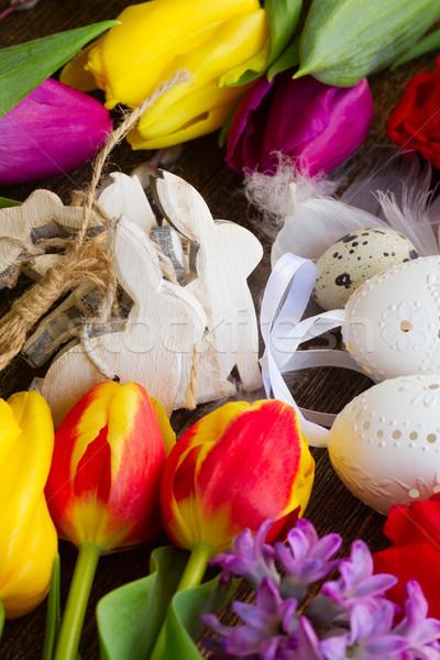 Wiosennych kwiatów Easter Eggs wiosną świeże kwiaty Wielkanoc Zdjęcia stock © neirfy