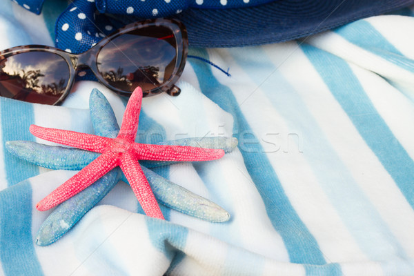 beach towel and hat Stock photo © neirfy