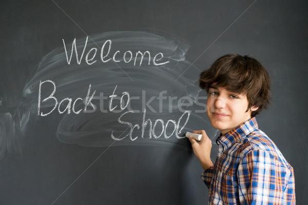 Stok fotoğraf: Erkek · okula · geri · okul · öğrenci · eğitim