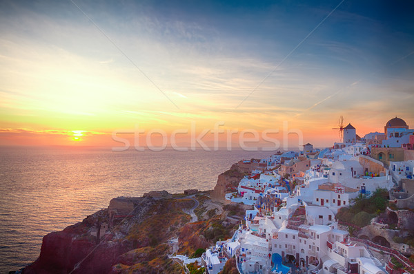 Stock fotó: Szélmalom · naplemente · Santorini · fóka · éjszaka · sziget