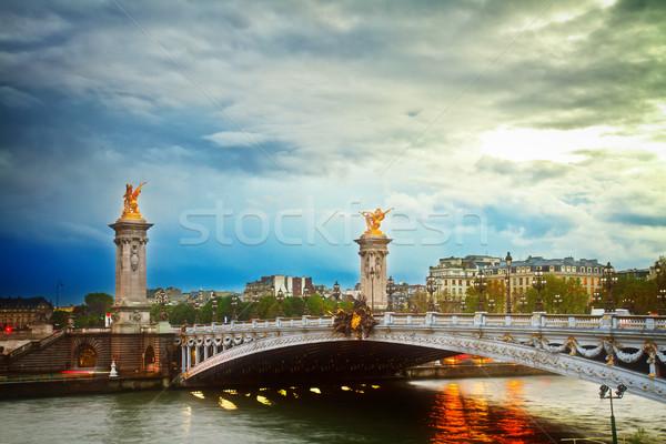 Сток-фото: моста · Париж · Франция · мнение · рассвета · ретро