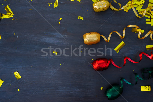 Carnaval decorations on dark wooden background Stock photo © neirfy