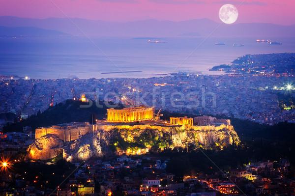 Foto stock: Cityscape · Atenas · noite · Grécia · Acrópole