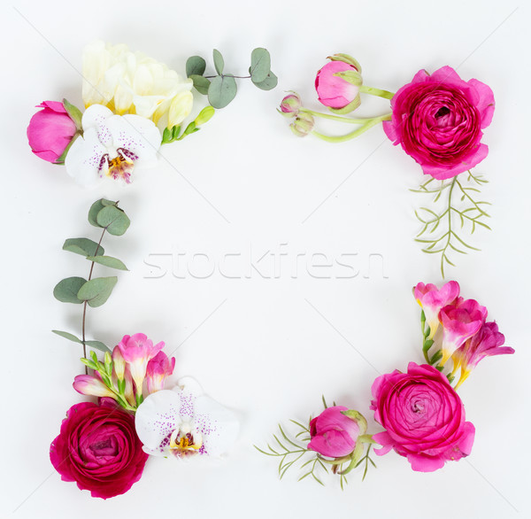 Flowers flat lay composition Stock photo © neirfy