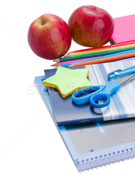 学校 文房具 リンゴ 孤立した 白 オフィス ストックフォト © neirfy