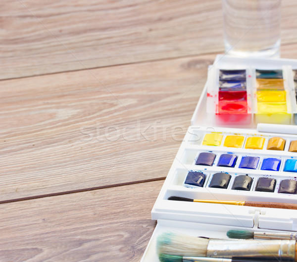 set of watercolor paints with brushes Stock photo © neirfy