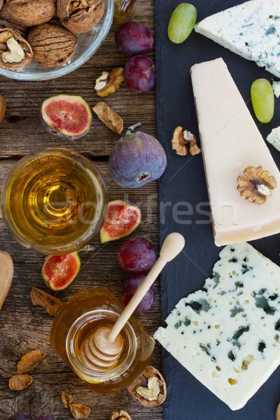 ストックフォト: チーズ · デザート · 黒 · まな板 · 先頭