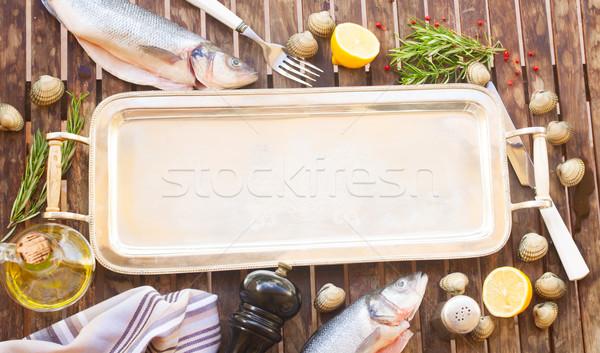пусто серебро лоток кадр рыбы моллюск Сток-фото © neirfy