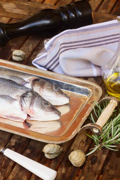 ストックフォト: 生 · 魚 · セット · 食品