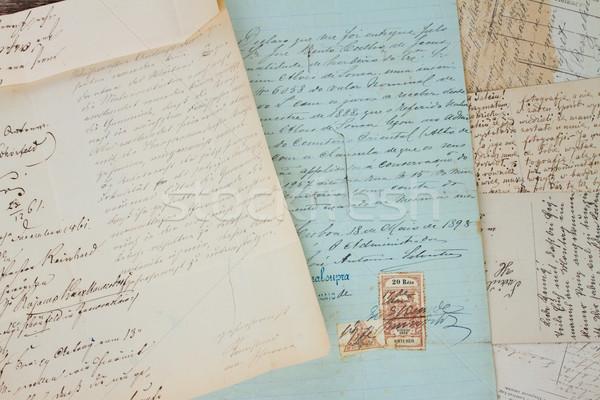 Stock fotó: Kézzel · írott · levél · szett · antik · levelek · közelkép