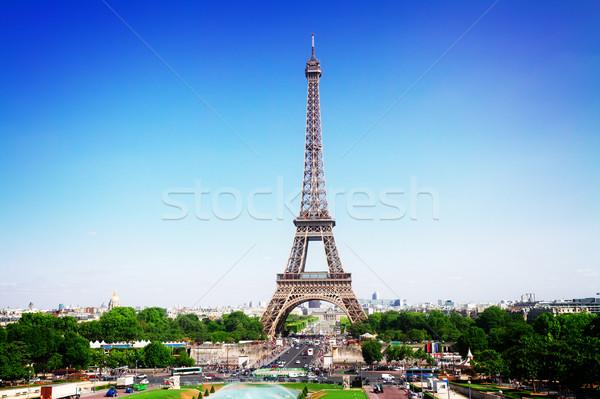 Eyfel Kulesi Paris Cityscape ufuk çizgisi yaz Stok fotoğraf © neirfy