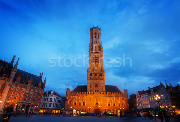 Belfry of Bruges at Grote Markt, Belgium Stock photo © neirfy