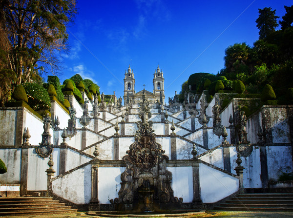 Heiligdom goede jesus berg Portugal retro Stockfoto © neirfy