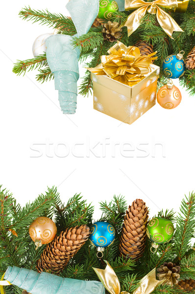Stock photo: christmas tree and  decorations with gift box