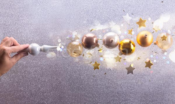 Gümüş altın Noel kabarcıklar büyü Yıldız Stok fotoğraf © neirfy