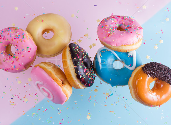 Stock fotó: Repülés · kék · rózsaszín · buli · háttér · torta