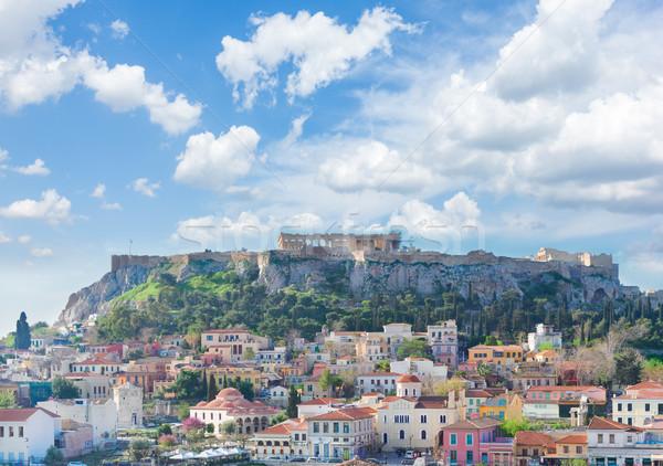 Linha do horizonte Acrópole colina nublado céu Atenas Foto stock © neirfy