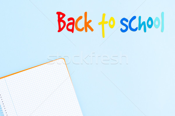 Zurück in die Schule minimal Szene blau Gruß Büro Stock foto © neirfy
