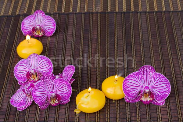 Stockfoto: Frame · spa · bloemen · kaarsen · orchidee · bamboe