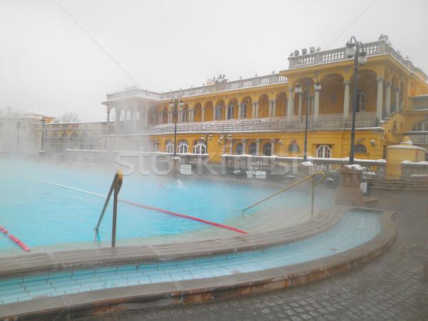 Banyo Budapeşte Macaristan spa kış gün Stok fotoğraf © neirfy