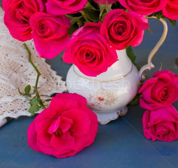 Leylak rengi güller buket mavi Stok fotoğraf © neirfy