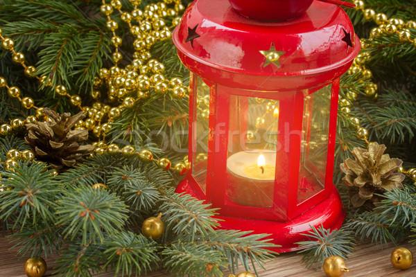 Рождества красный фонарь вечнозеленый Сток-фото © neirfy