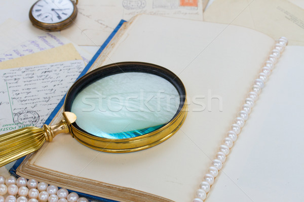 open empty vintage book with finding glass Stock photo © neirfy
