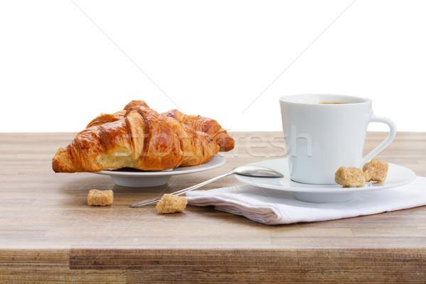 Csésze kávé croissant fehér friss eszpresszó Stock fotó © neirfy
