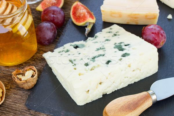 Queijo azul sobremesa mel nozes comida grupo Foto stock © neirfy