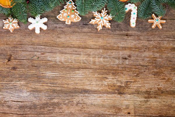 Stok fotoğraf: Noel · zencefilli · çörek · kurabiye · sınır · ahşap · arka · plan