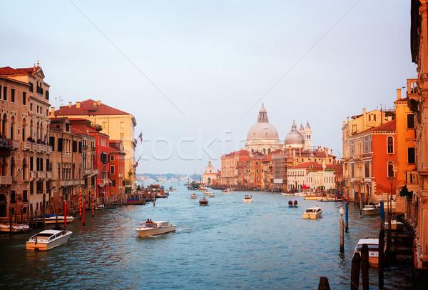 Kanal Venedik İtalya bazilika gün batımı Stok fotoğraf © neirfy
