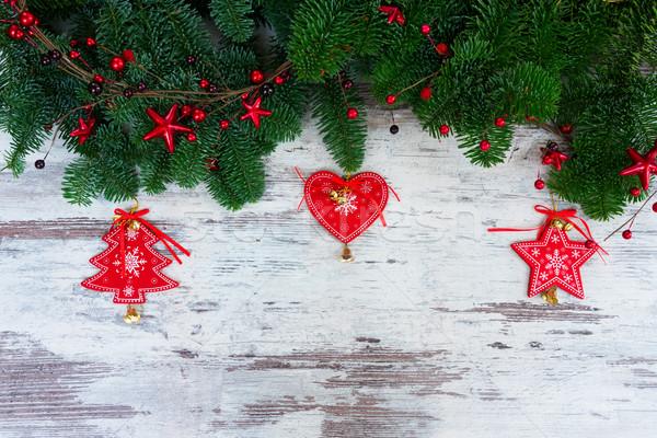 Karácsony friss örökzöld fa ágak piros Stock fotó © neirfy