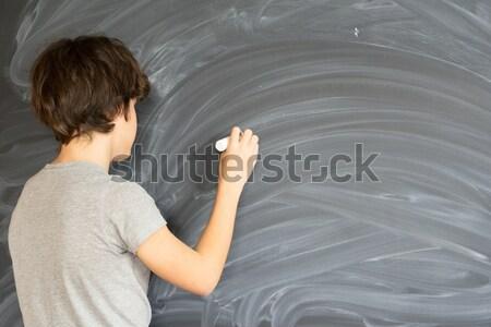 Fiú iskolatábla tini kréta kéz üres Stock fotó © neirfy