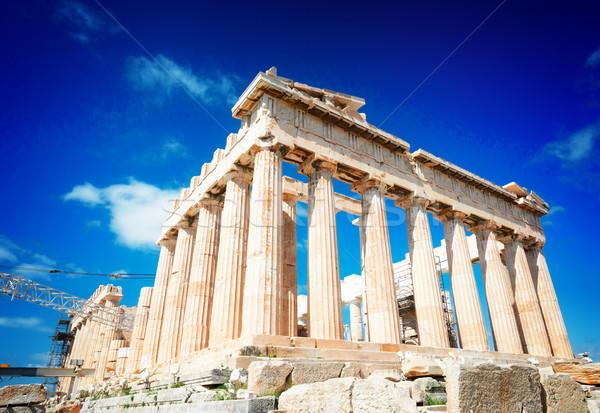 Templo brilhante blue sky colina retro azul Foto stock © neirfy