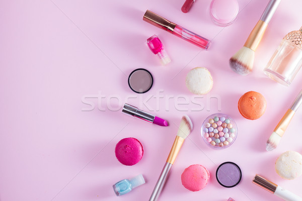 Make up products and macaroons Stock photo © neirfy