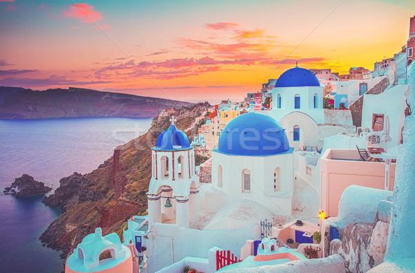 Tradicional griego pueblo santorini azul iglesias Foto stock © neirfy