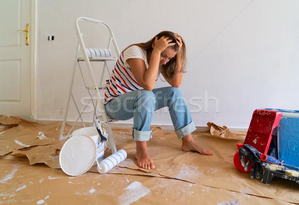 Fai da te casa pittura stanza blu Foto d'archivio © neirfy